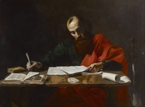 """St. Paul Writing His Epistles"" (ca. 1618-1620), by Valentin de Boulogne (1591-1632). Museum of Fine Arts, Houston. Public Domain."