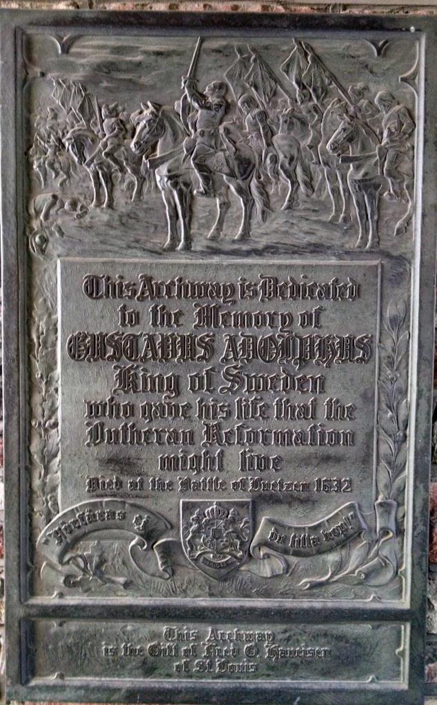The Gustavus Adolphus plaque at Concordia Seminary, St. Louis.