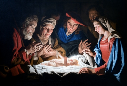 """Adoration of the Shepherds,"" Matthias Stomer (1632)"