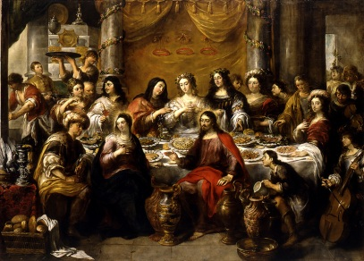 """The Wedding at Cana: Jesus Blesses the Water"" (1641-1660), by Jan Cossiers (1600-1671), Saint Waldetrudis Church, Herentals, Belgium"