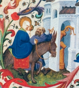 """Toppling of the Pagan Idols (The Flight into Egypt): Isaiah 19:1, Pseudo-Matthew 22-23"" (1423) by the Bedford Master"