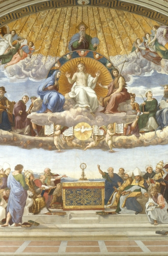 """Disputation of the Holy Sacrament"" (1509-1510) by Raphael (1483-1520), Vatican Museums"