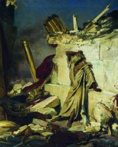 """Cry of prophet Jeremiah on the Ruins of Jerusalem,"" (1870) by Ilya Repin (1844-1930), Tretyakov Gallery."