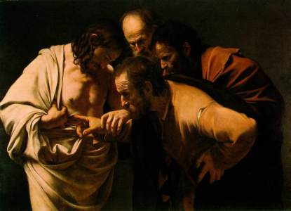 """The Incredulity of Saint Thomas"" (1600) by Caravaggio (1571-1610), Sanssouci Picture Gallery."