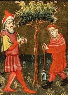"Detail, ""Parable of the Fig Tree"" (1430). Koninklijke Bibliotheek, The Hague."