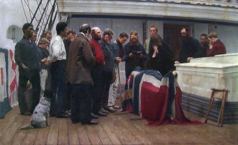"""Burial at Sea"" (1890) by Carl Sundt Hansen (1841-1907), National Museum, Norway."