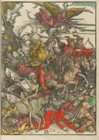 """Four Horsemen of the Apocalypse"" (1497-1498) from ""The Revelation of St. John"" by Albrecht Dürer (1471-1528). Houghton Library, Harvard."