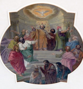 """Pentecost"" (1925), by Ludwig Glötzle (1847-1929), Saint Jodok Parish Church, Bezau, Vorarlberg. Photo by Wolfgang Sauber (May 27, 2012). This image is licensed under the Creative Commons Attribution-Share Alike 3.0 Unported, 2.5 Generic, 2.0 Generic and 1.0 Generic license."