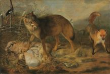 """Wolf reißt ein Lamm"" (1666), by Christopher Paudiß (circa 1618 –1666/1667). Bavarian State Painting Collections. Public Domain."