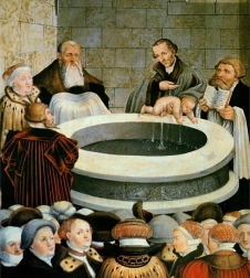 """Baptism"" from the Reformation Altarpiece (1547), Stadt- und Pfarrkirche St. Marien zu Wittenberg, by the Cranachs. Public Domain. Cropped."