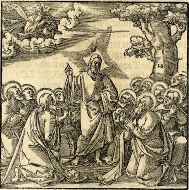 """Christ teaching the disciples the Lord's Prayer"" (1550), by Hans Brosamer (1495-1554) from the 1550 Frankfurt Edition of the Small Catechism of Martin Luther. The British Museum. Public Domain."