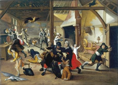 """""""Soldiers Plundering a Farm"""" (1620), by Sebastiaen Vrancx (1573–1647). Deutsches Historisches Museum, Berlin."""