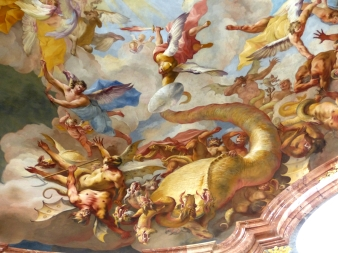 """Archangel Michael Fights the Dragon and Rebel Angels"" (1733) by Paul Troger, Abbey church, Altenburg, Lower Austria. Photo by Wolfgang Sauber, Creative Commons Attribution-Share Alike 4.0 International License."