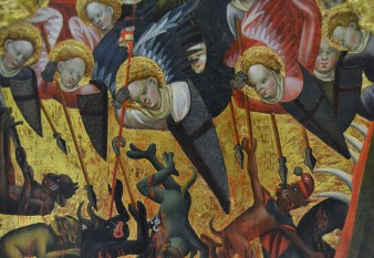 """Retable of archangel St. Michael"" by Jaume Mateu (1382–1452). Museu de Belles Arts de València. Image by Joanbanjo, Creative Commons Attribution-Share Alike 4.0 International license."