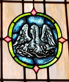 The Pelican Window at Emmaus Lutheran Church, Dorsey, Illinois. (We have since determined that this is the Passion Window, but I still think it is a good image of the Christian life and I'm sticking to it!)