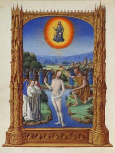 """The Baptism of Jesus"" (1485/1486) by Jean Colombe (1430-1493), from Très Riches Heures du Jean Duc de Berry, folio 109v. Condé Museum. Public Domain."