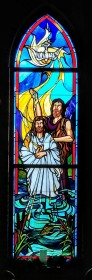 """Jesus' Baptism"" (2008) by Richard Buswell, Lynchburg Stained Glass. Good Shepherd Lutheran Church, Herndon, Virginia. Personal photograph."