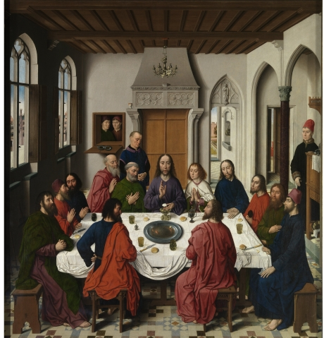 """Altarpiece of the Holy Sacrament"" (1458) by Dieric Bouts (1420-1475). M-Museum, Louvain. Public Domain."