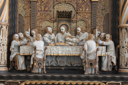 """The Last Supper"" (1638) from the Orebygård Manor chapel altarpiece, by Henrik Werner. Nationalmuseet, Copenhagen. Photograph by Victor Valore, Creative Commons Attribution-Share Alike 3.0 Unported License."