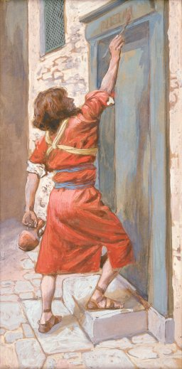 """The Signs on the Door"" (ca. 1896-1902), by James Jacques Joseph Tissot (1836-1902). The Jewish Museum, New York. Public Domain."