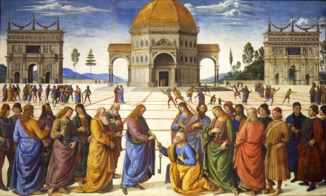 """Jesus gives the keys to St. Peter"" (1481-1482) by Pietro Perugino (1448-1523). Sistine Chapel, Vatican City. Public Domain."