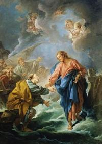 """""""Saint Pierre tenant de marcher sur les eaux"""" (1766) by Francois Boucher (1703-1770). Cathedrale Saint-Louis de Versailles. Public domain."""