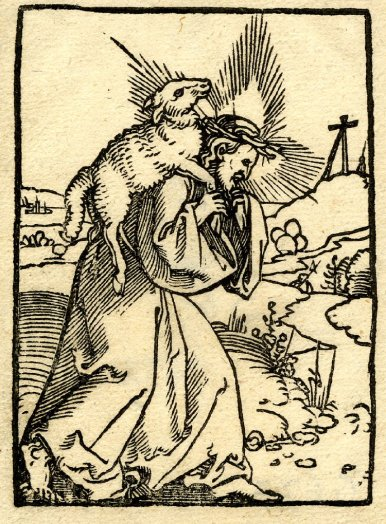 Woodcut of Christ carrying a lamb (1527), by Sebald Beham, from Martin Luther's Prayer Book. British Museum. Public Domain.