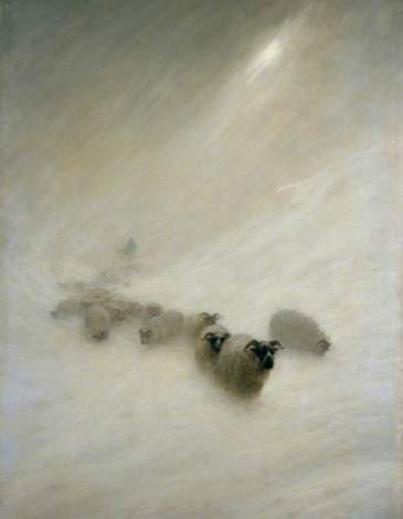 """The Stormy Blast"" (1898) by Joseph Farquharson (1846-1935). Wikiart. Public Domain."