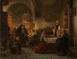 """Celebrating Communion in a Swedish Parish Church"" (1856), by Bengt Nordenberg (1822-1902). National Gallery, Oslo. Public Domain; Photo license: Free non-commercial use (CC-BY-NC)."