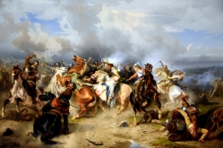 """Death of King Gustav II Adolf of Sweden at the Battle of Lützen,"" (1855) by Carl Wahlbom (1810-1858). Nationalmuseum, Stockholm, Sweden. Image by Dr. Osama Shukir Muhammed Amin, Creative Commons Attribution-Share Alike 4.0 International license."