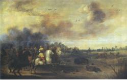 """Gustav II. Adolf in der Schlacht bei Lützen am 16. November 1632"" (17th C.) by Pieter Meulener (1602-1654). Public Domain."