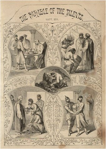 """""""The Parable of the Talents"""" (1878) by John S. C. Abbott and Jacob Abbott. Public Domain."""