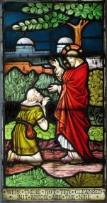 """Jesus and the Samaritan Leper."" Stained glass window in St Andrew's parish church, Buckland, Hertfordshire. Photo by John Salmon, 2006. John Salmon / St Andrew, Buckland, Herts - Window / CC BY-SA 2.0."