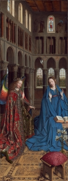 """The Annunciation"" (1434-1436) by Jan van Eyck (ca. 1390-1441). National Gallery of Art, Washington, DC. Public Domain."