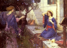 """The Annunciation"" (1914) by John William Waterhouse (1849-1917). Private Collection. Public Domain (PD-US)."